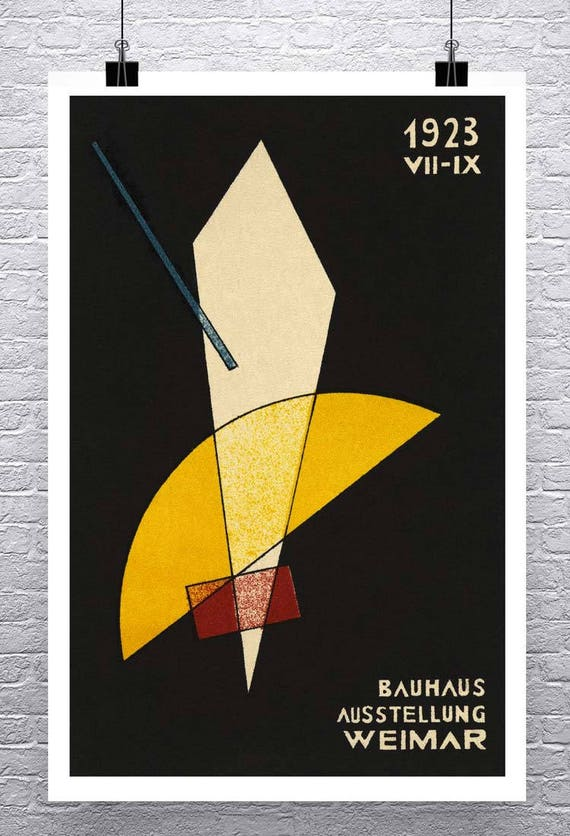 1924 GERMAN WEIMAR BAUHAUS ART EXHIBITION AUSSTELLUNG A3 POSTER RE PRINT