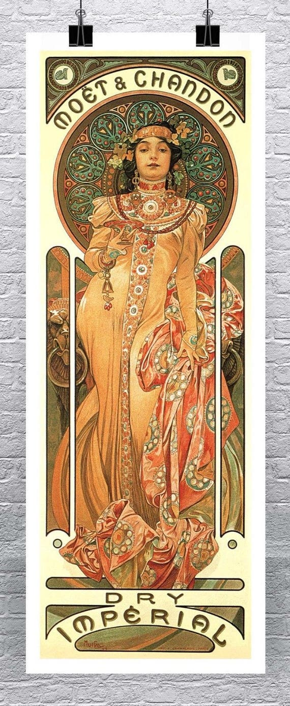 Champagne Theophile 1864 Vintage Poster Print Mucha Style Art Nouveau Lady