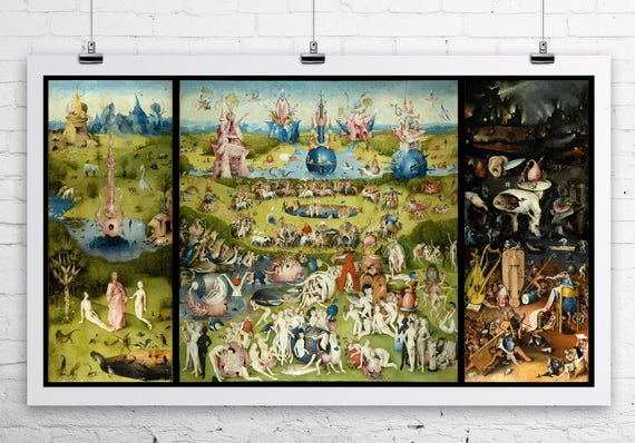 Garden Of Earthly Delights 1503 Hieronymus Bosch Fine Art Etsy