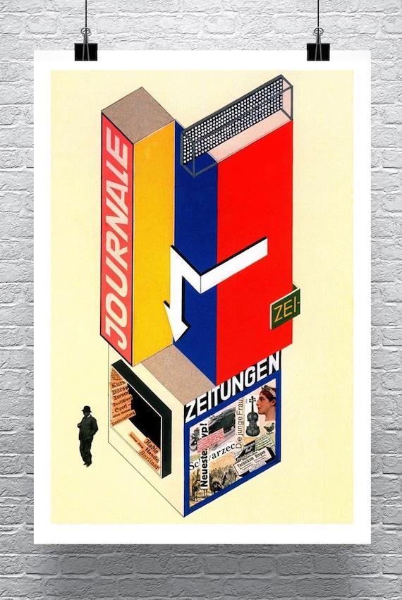 Ledger 1924 Vintage Bauhaus Herbert Bayer Poster roulé impression jet d'encre sur toile