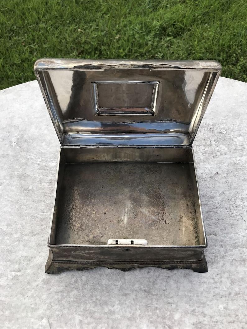 Large Antique Silverplate Metal Jewelry Casket Box