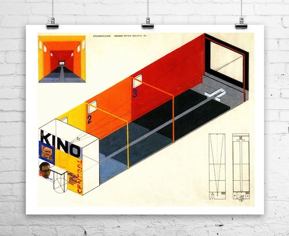 Théâtre de cinéma Bauhaus allemand Design 1923 roulé toile giclée 29 x 24 pouces