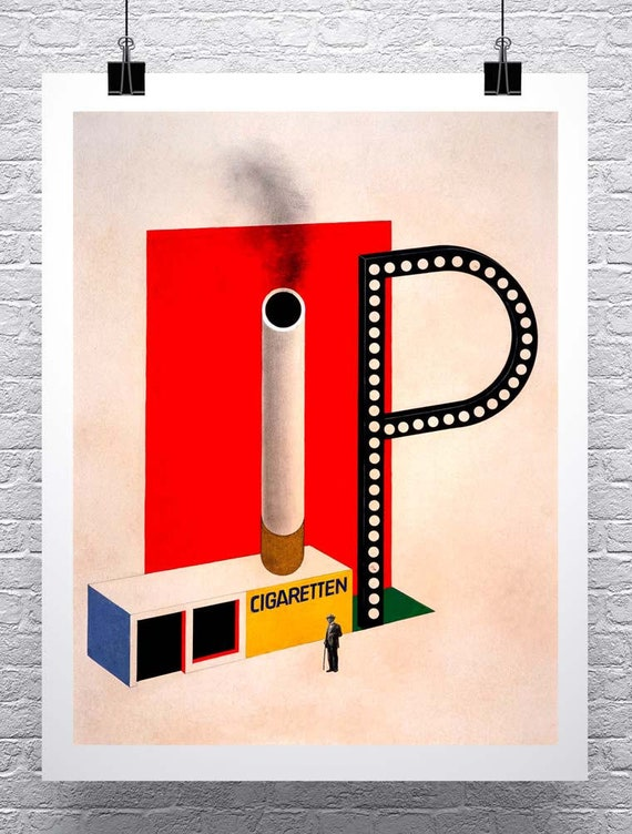 Affiche Bauhaus cigarette 1924 Herbert Bayer roulé toile giclée print 24 x 30 pouces