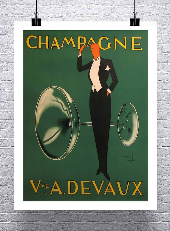 Vintage Art Deco Drinks Poster Joseph Perrier Champagne 1920/'s France