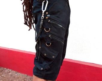 Skinner- Men's cargo shorts, mens shorts, casual shorts with extra zips,  steampunk, psytrance goa pants