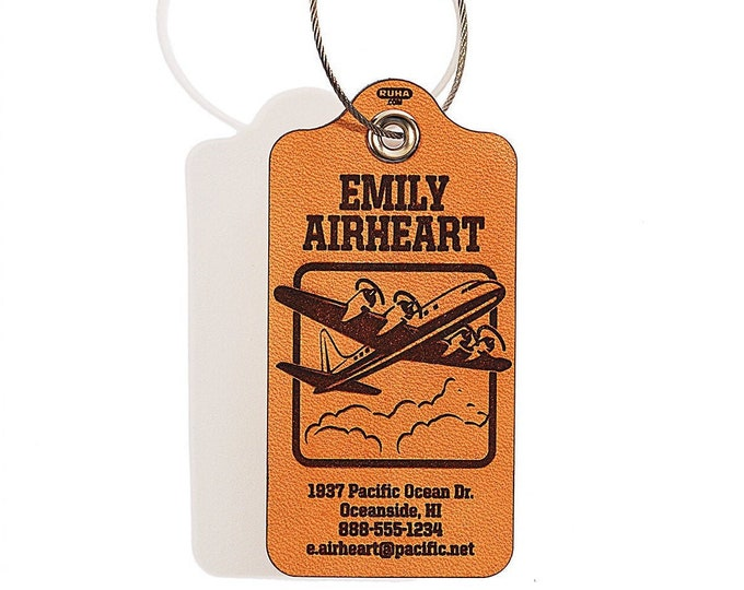 Luggage Bag Tag - 4-Engine Design - Personalized Leather