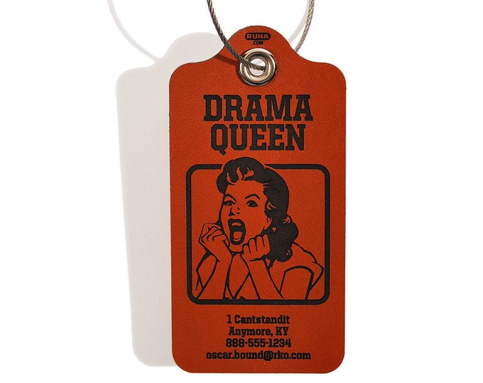 Luggage Bag Tag - Drama Queen Design - Personalized Leather