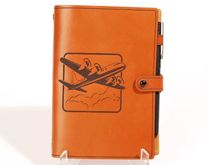 PERSONALIZED LEATHER JOURNAL - 4-Engine Plane Design - Sketchbook - Notebook - Travel Diary