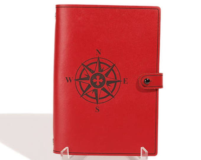 LEATHER JOURNAL - 3 Ring Compass Rose Design - Personalized Organizer - Travel Journal - Diary