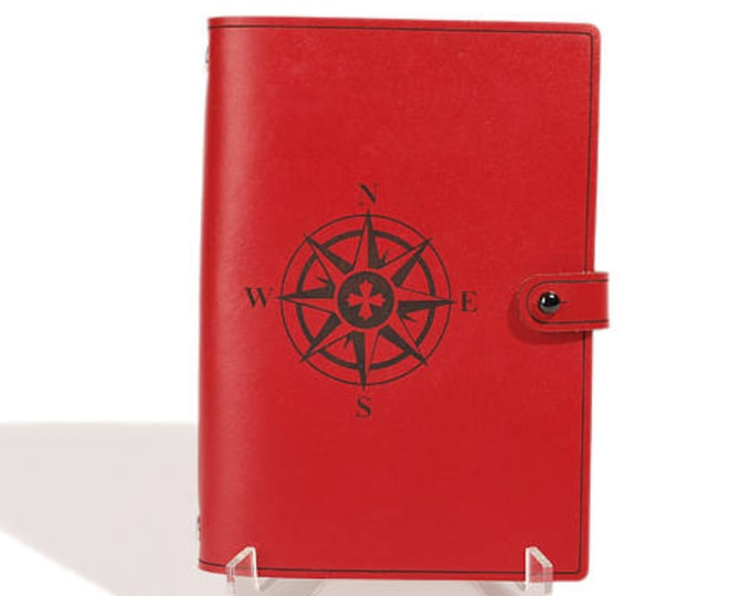 PERSONALIZED LEATHER JOURNAL - Compass Rose Design - Sketchbook - Notebook - Travel Diary