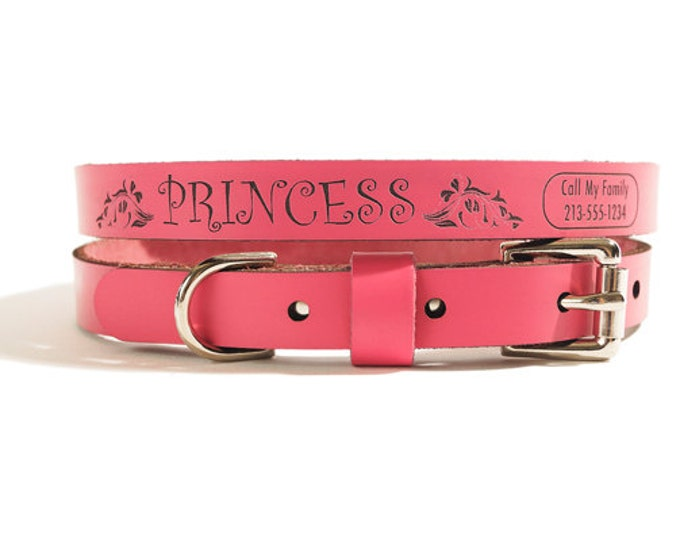ID DOG COLLAR - Small - Princess Design - Personalized Leather Dog Collar