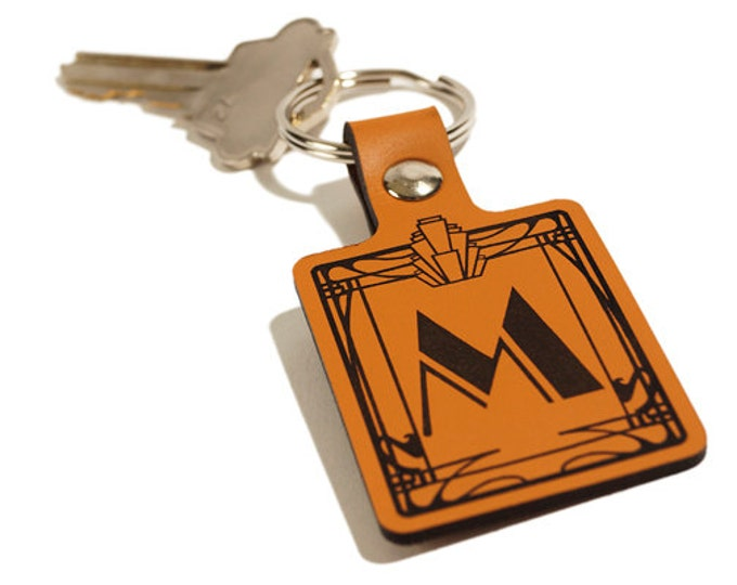 ART DECO KEYRING – Initial Keyring – Laser Engraved Leather Keychain
