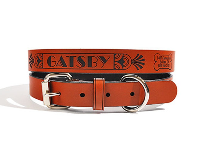 Personalized Leather ID Dog Collar, Medium Size, Gatsby Design, Name & Contact Info Engraved FREE