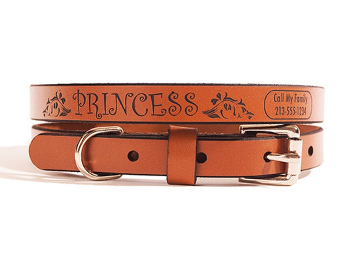 ID DOG COLLAR - Small - Princess Design - Custom Leather