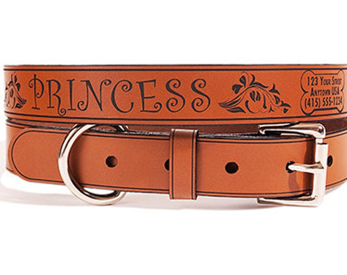 Personalized Leather ID Dog Collar, Large Size, Princess Design, Name & Contact Info Engraved FREE
