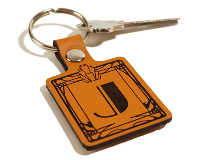 GIFT INITIAL KEYCHAIN – Initial Keyring – Laser Engraved Leather Keychain