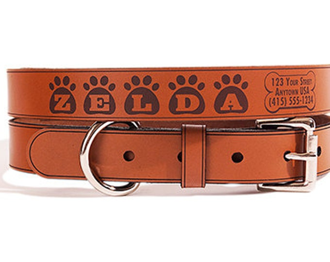 Personalized Leather Dog Collar, Medium Size, Name & Contact Info Engraved