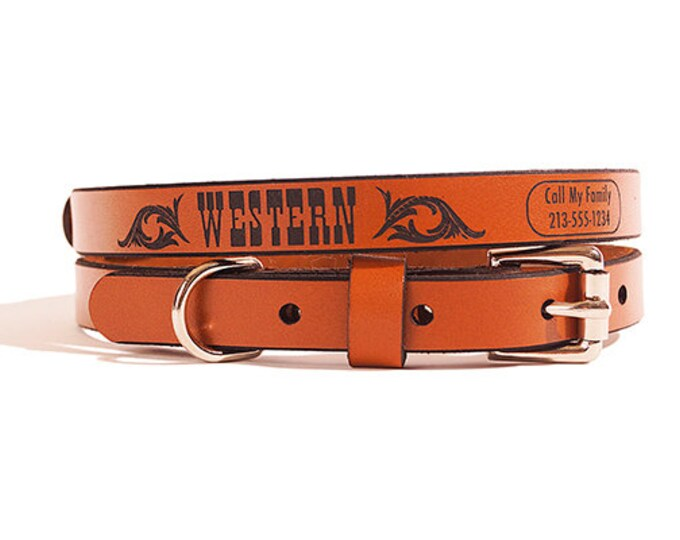 ID DOG COLLAR - Small - Western Design - Custom Leather