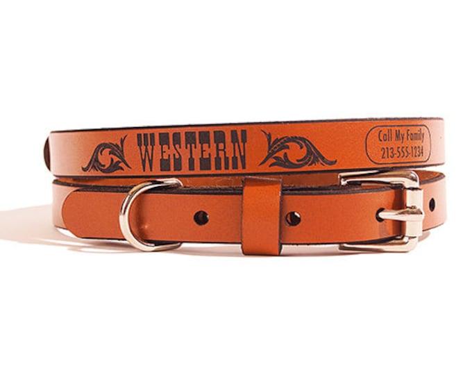 ID DOG COLLAR - Small - Western Design - Custom Leather