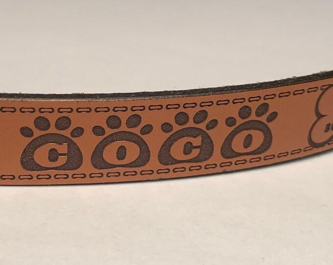 Personalized Leather ID Dog Collar, Medium Size, Name & Contact Info Engraved FREE