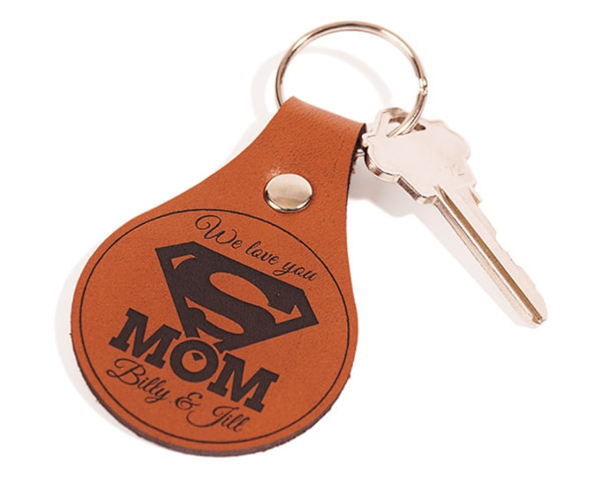 Mom Keychain, Mom Keyring, Leather Key Chain, Mom Key Fob, Leather Keyring, Leather Key Fob, Choose Mom or Mum, Unique Mothers Day Gift