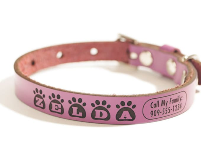Personalized Leather ID Dog Collar, Small Size, Zelda Design, Name & Contact Info Engraved FREE