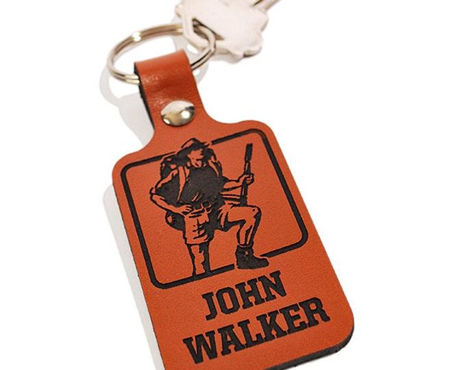 PERSONALIZED KEYRING - Hiker Design - Engraved Leather