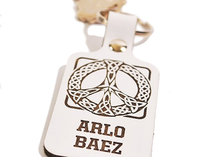 PERSONALIZED KEY FOB - Peace Sign Design - Engraved Leather