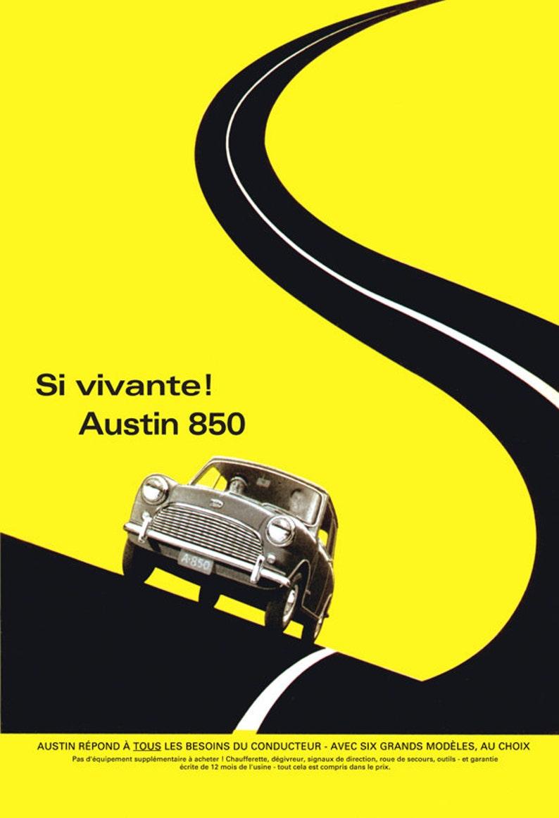 1961 Austin Mini Yellow Poster Size Ad Etsy