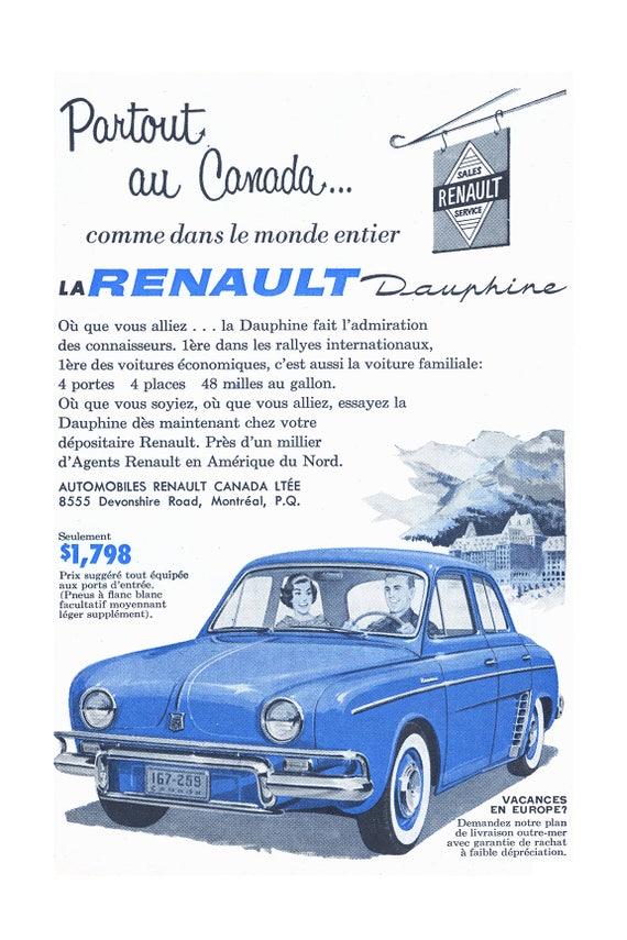prospectus carte RENAULT  Dauphine GORDINI