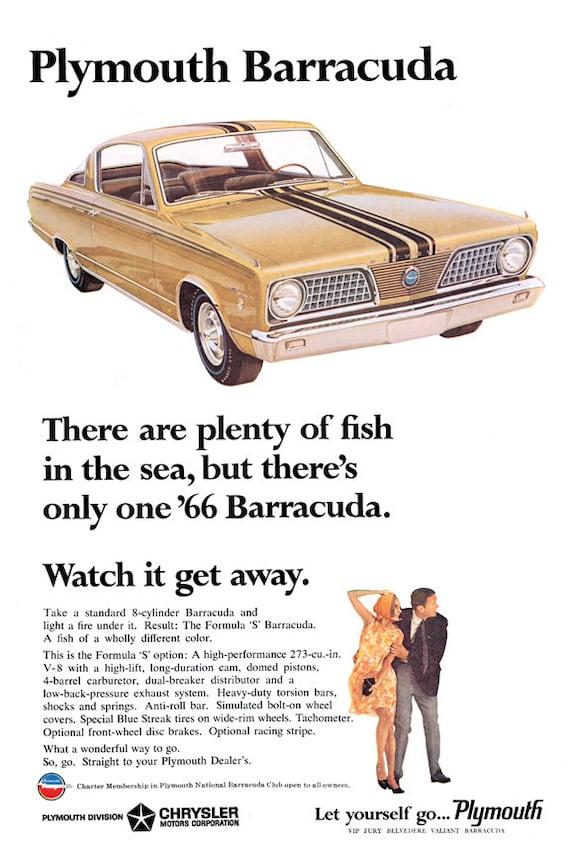 1966 Plymouth Barracuda Ad Photo Keychain Gift
