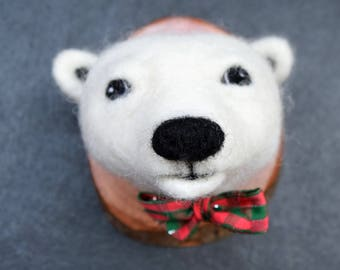 Needle felted polar bear