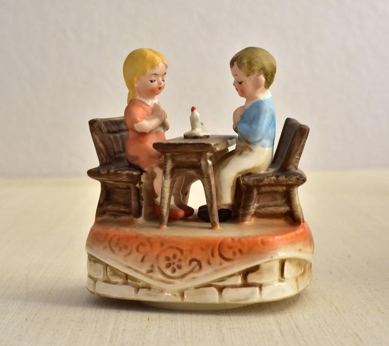 Vintage,Collectible,Porcelain,Boy and Girl,Praying,Music Box,Price Import,Sankyo Japan,Praying Candlelight,Twinkle Twinkle,Christmas Gift