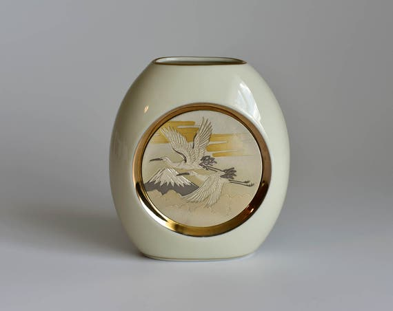Vintage Chokin Art Small White Vase Flying Cranes Theme Etsy
