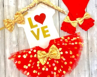 First valentines outfit, Valentines outfit, gold and red set, baby, newborn, toddler, valentines, baby's first valentines, valentines tutu