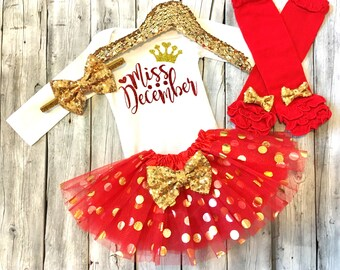 Miss December Birthday Outfit Baby Girl !st Birthday Snowflake Birthday Outfit Winter Birthday Girl Knit Tights Boho Birthday Girl