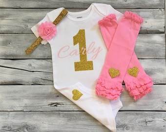Personalized pink and gold 1st birthday bodysuit, pink and gold first birthday shirt, pink gold glitter, pink and gold 1st birthday outfit