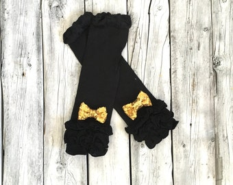 Baby girls black and gold legwarmers, black legwarmers, gold legwarmers, baby girl, newborn girl, toddler girl, legwarmers, solid gold black