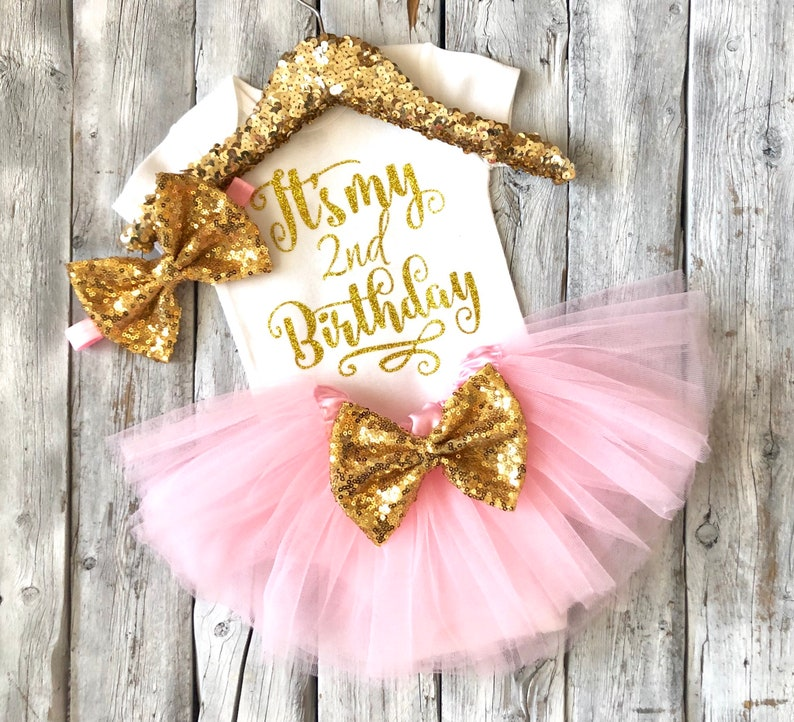 tutu outfit its my 2nd birthday princess birthday outfit Girls 2nd birthday outfit pink and gold second birthday outfit girls