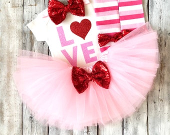 Baby girl love valentines outfit, Girls valentines outfit, 1st valentines, first valentines, outfit, newborn girl valentines outfit pink red