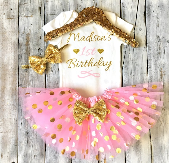 Cake Smash Outfit Personalized First Birthday Outfit Girl Baby Tutu Valentine/'s Day Birthday Red Pink and Gold First Birthday Outfit
