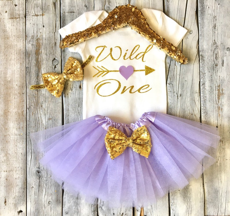 wild one tutu outfit lavender cake smash outfit wild one 1st birthday outfit gold Lavender and gold wild one first birthday outfit