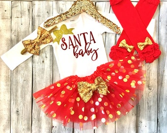 Girls christmas outfit, baby girl christmas, santa baby christmas outfit, santa baby, red and gold christmas outfit, newborn first christmas