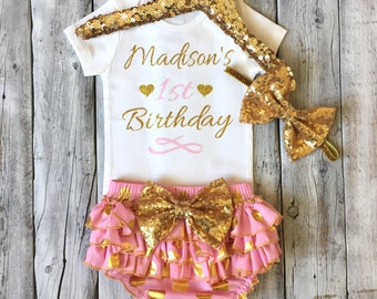 Girls personalized 1st birthday outfit, pink gold first birthday outfit, cake smash, pink, gold, girls birthday outfit, polka dot bloomers
