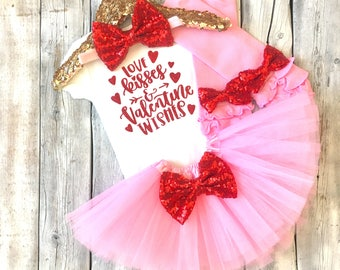 Baby girl valentines day outfit Valentines tutu Valentines shirt girls 1st valentines outfit girl first valentines bodysuit newborn outfit