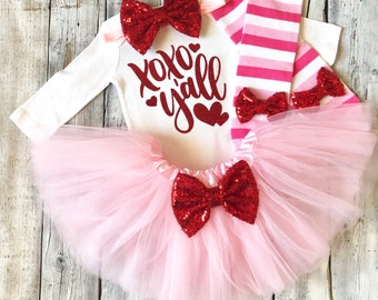 Baby girl valentines outfit, Girls xoxo valentines outfit, 1st valentines outfit, first valentines outfit, girls valentines, pink red, tutu