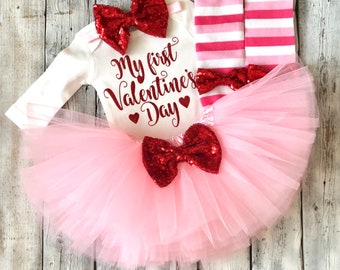 Baby girl 1st valentines outfit, My first valentines day, first valentines outfit,Pink red valentines outfit, Newborn girl valentines outfit