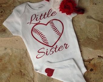 Baby girl baseball outfit, Little sister baseball bodysuit, Glitter baseball shirt, Little sister baseball shirt, toddler baseball shirt
