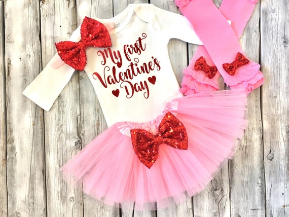 Baby Girl Valentines Outfit 1st Valentines Outfit First Etsy