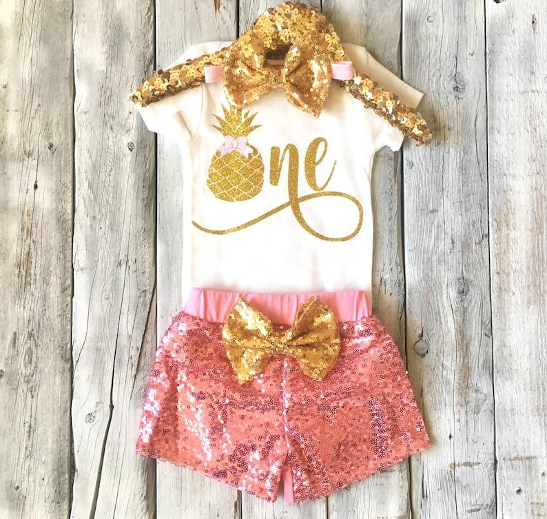 girls birthday pink gold pineapple birthday pineapple first birthday outfit summer birthday outfit Pineapple 1st birthday outfit short